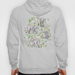 Baby Elephants and Egrets in Watercolor - neutral cream Hoody