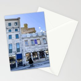 Digital Painting of Traditional Quebecois Buildings on a Winter's Day in Old Port Montreal Stationery Cards