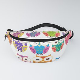 pattern - bright colorful owls on white background Fanny Pack
