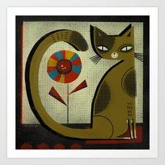 FLOWER & CAT Art Print