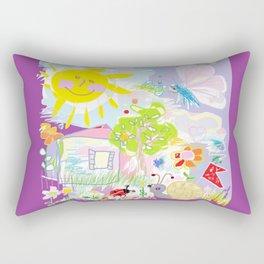 My happy world Doodle for children room Nursery home decor Rectangular Pillow