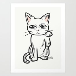 White funny cat Art Print