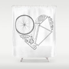 Love Bike (Grey) Shower Curtain