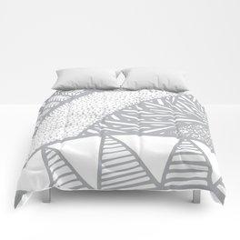 Free Hand Grey scale Doodle Design Comforters