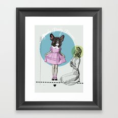 Pretty Chauncey Princess - French Bulldog Framed Art Print