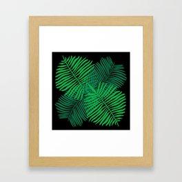 Modern Tropical Palm Leaves Painting black background Framed Art Print