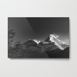 Black and White Snowy Peaks of the Himalaya Mountains. Nature Photography. Metal Print