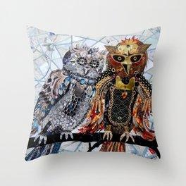 Steampunk Owls Throw Pillow