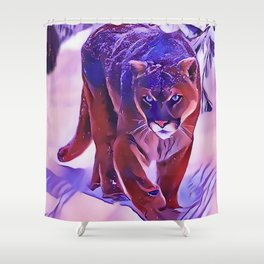 Mountain Lion Hunting in The Snow Shower Curtain