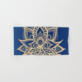 Gold and Blue Lotus Flower Mandala Hand & Bath Towel