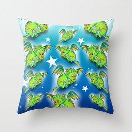Green cartoon flying dragon pattern Throw Pillow