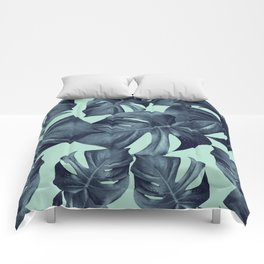 Monstera Leaves Pattern #10 #tropical #decor #art #society6 Comforters