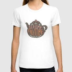 TEA TIME. ANY TIME. - color White Womens Fitted Tee MEDIUM