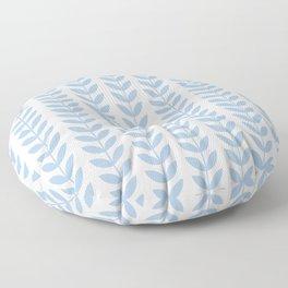 Pale Blue Scandinavian leaves pattern Floor Pillow