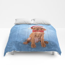 Drawing funny Vizsla pointer in red hat of Santa Claus Comforters
