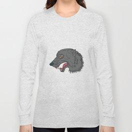 Grey Wolf Head Growling Drawing Long Sleeve T-shirt