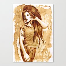 A little Amy in my coffee Canvas Print