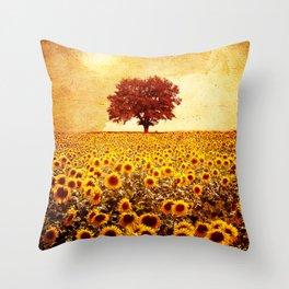 lone tree & sunflowers field Throw Pillow