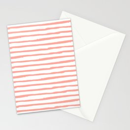 Pink Drawn Stripes Stationery Cards