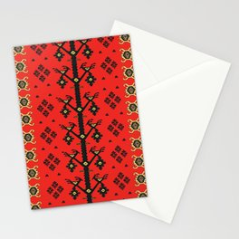 Birds Couple in Love Red Pirot Kilim  Stationery Cards