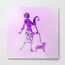 Purple glam lady & dog super plastic fantastic Metal Print