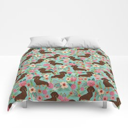 Doxie Florals - vintage doxie and florals gift gifts for dog lovers, dachshund decor, chocolate and Comforters