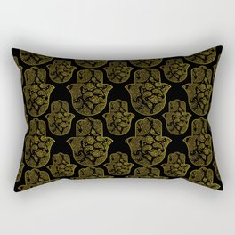Gold Paisley Hamsa Hand pattern Rectangular Pillow