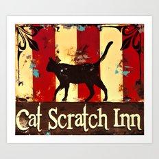 Cat Scratch Inn Art Print