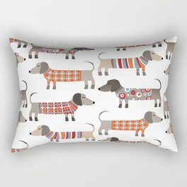 Sausage Dogs in Sweaters Rectangular Pillow