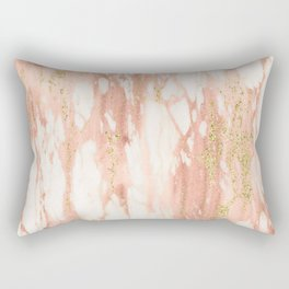 Rose Gold Marble - Rose Gold Yellow Gold Shimmery Metallic Marble Rectangular Pillow