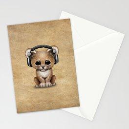 Cute Lion Cub Dj Wearing Headphones Stationery Cards