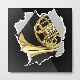 French Horn Paper Tear Metal Print