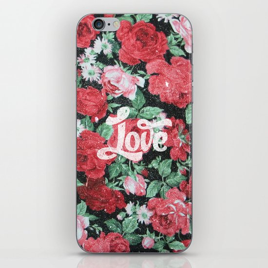 Red Pink Roses Chic Love Vintage Floral Pattern iPhone & iPod Skin