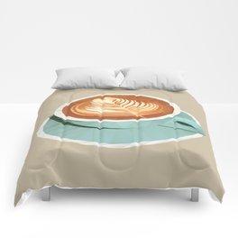 Coffee with Latte Art Polygon Art Comforters