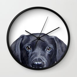 Labrador with white background Dog illustration original painting print Wall Clock
