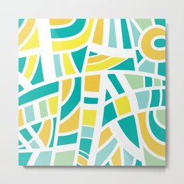 Broken Blue And Yellow Abstract Metal Print