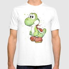 Yoshi Watercolor Mario White Mens Fitted Tee SMALL
