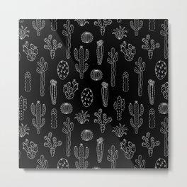 Cactus Silhouette White And Black Metal Print