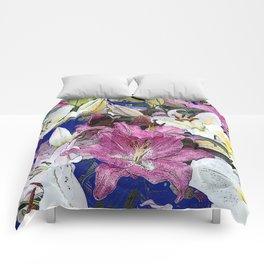 PURPLE & WHITE ASIAN GARDEN LILIES DRAWING Comforters