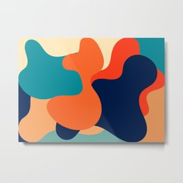 Retro 70's and 80's colorful fluid abstraction Metal Print