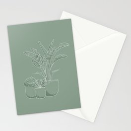Minimum line art of potted plants Stationery Cards
