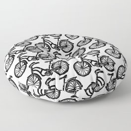 roule ma poule - wanna ride my bicycle BLACK Floor Pillow