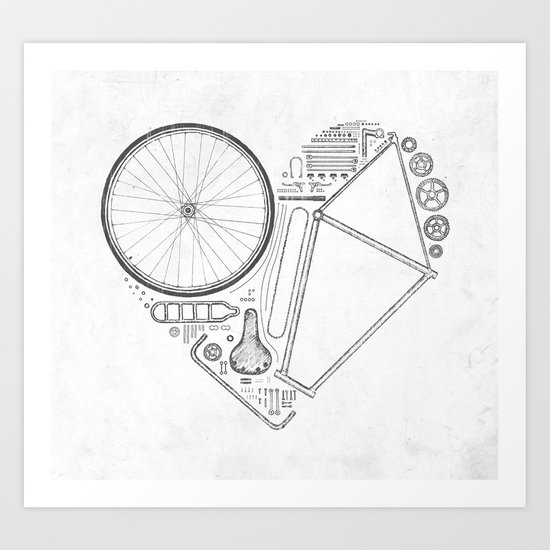 Love Bike (Grey) Art Print