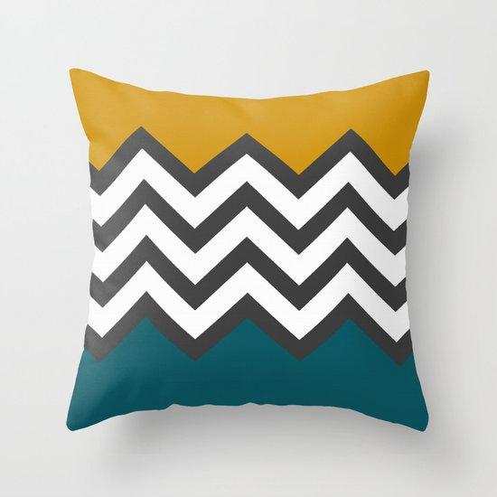 Color Blocked Chevron Throw Pillow