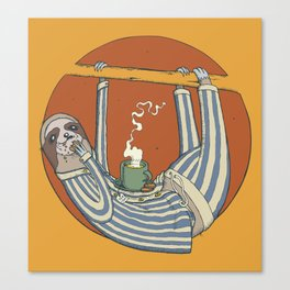 Sloth enjoying breakfast. Canvas Print