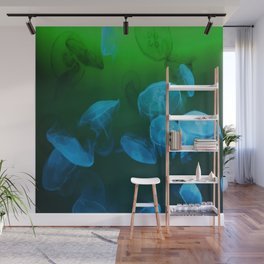 Moon Jellyfish - Blue and Green Wall Mural