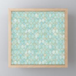 Luxury Aqua and Gold oriental pattern Framed Mini Art Print