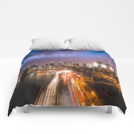 NYC FDR Drive Twilight Comforters