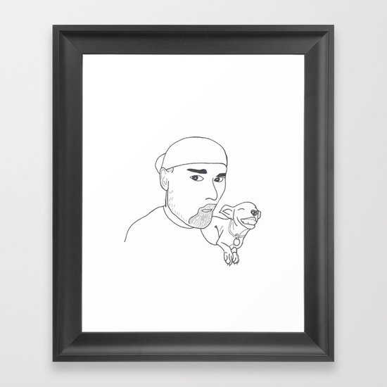 A boy and his dog. Framed Art Print