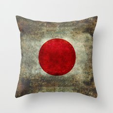 National flag of Japan - Super Grunge Throw Pillow